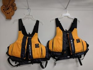 SOLD!! Two West Marine Adult Life Jackets - trade for radio stuff or