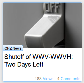 Shutoff of WWV-WWVH: two days left to the end of the